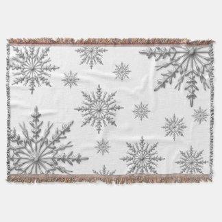 Silver Winter Snowflakes on White Throw Blanket