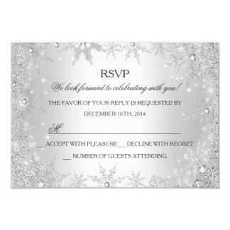 Silver Winter Wonderland Christmas Holiday RSVP 9 Cm X 13 Cm Invitation Card