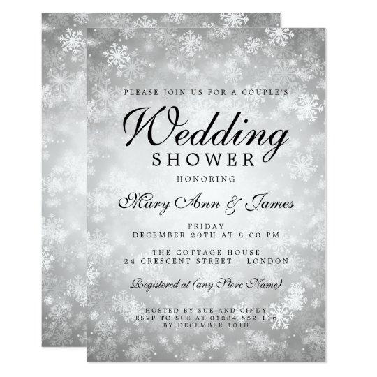 Silver Winter Wonderland Couple's Wedding Shower Card