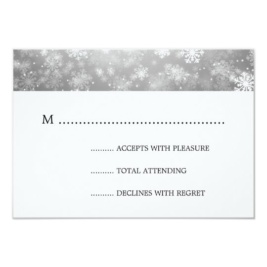 Silver Winter Wonderland Elegant Wedding RSVP Card