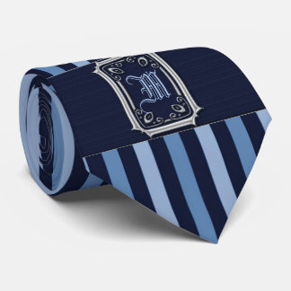 Silver with Blue Stripes Buckle Monogram Tie