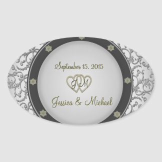 Silver with Lace and Hearts Wedding Stickers