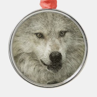 Silver Wolf Pencil Illustration Drawing Silver-Colored Round Decoration