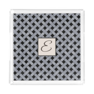 Silver Woven Rattan on Custom Color with Monogram Acrylic Tray
