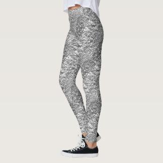 Silver Wrinkle Sheet Design Leggings