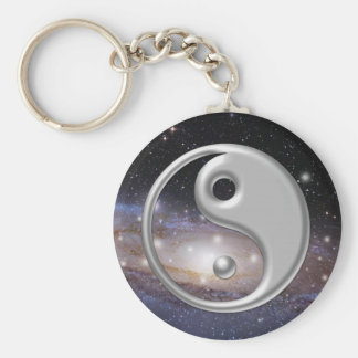 Silver Ying Yang Galaxy Space Key Ring