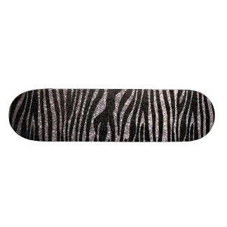 Silver zebra stripe pattern (faux glitter bling) skate decks