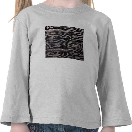 Silver zebra stripe pattern (faux glitter bling) shirt