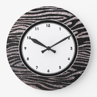 Silver zebra stripes (faux glitter bling) large clock