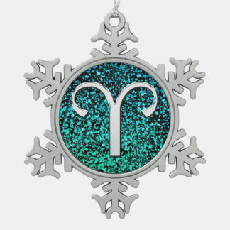 Silver Zodiac Sign Aries Snowflake Ornament