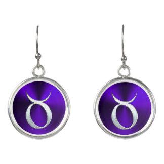 Silver Zodiac Sign Taurus On Purple Earrings