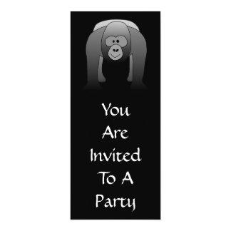 Silverback Gorilla Cartoon 10 Cm X 24 Cm Invitation Card