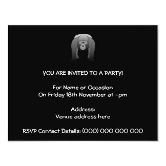 Silverback Gorilla Cartoon 11 Cm X 14 Cm Invitation Card
