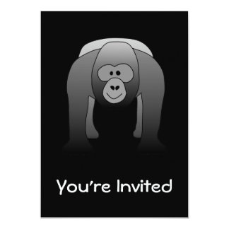 Silverback Gorilla Cartoon 13 Cm X 18 Cm Invitation Card
