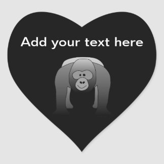 Silverback Gorilla Cartoon Heart Sticker