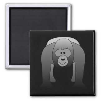 Silverback Gorilla Cartoon Square Magnet