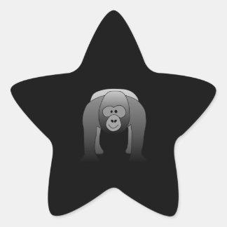 Silverback Gorilla Cartoon Star Sticker