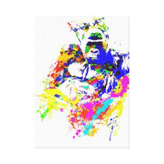 Silverback Lowland Gorilla Splatter Paint Effect Canvas Print