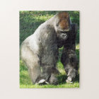 Silverback Male Lowland Gorilla Standing Up Jigsaw Puzzle