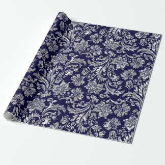 Silvers & Midnight Blue Damasks Wrapping Paper