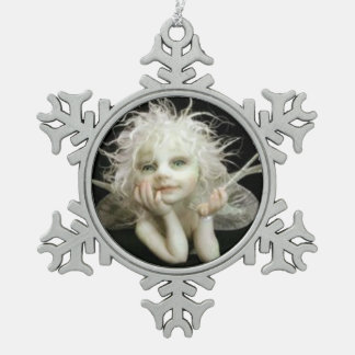 Silvery baby Fairy Pewter Snowflake Decoration