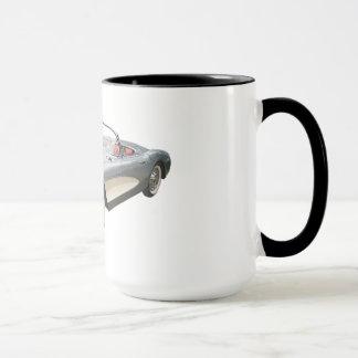 Silvery blue 1959 Corvette on coffee mug
