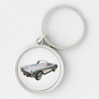 Silvery blue 1959 Corvette on white key chain. Key Ring