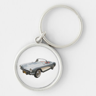 Silvery blue 1959 Corvette on white key chain. Silver-Colored Round Key Ring