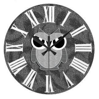 Silvery Faux Glitter Styled Woodland Owl Wallclock
