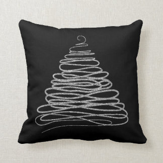 Silvery Glitter Christmas Tree Cushion