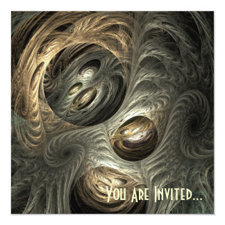 Silvery Gold Tunnel Fractal Art Card