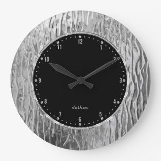 Silvery Melting Stained Glass Look Large Clock