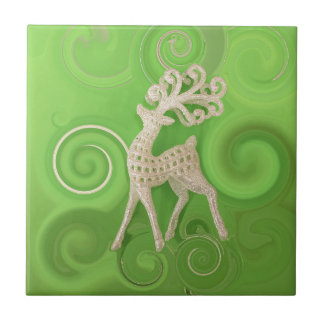 Silvery Reindeer with green swirls Small Square Tile