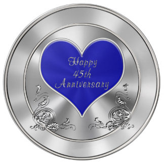 Silvery Sapphire look Happy 45th Anniversary Gifts Porcelain Plate