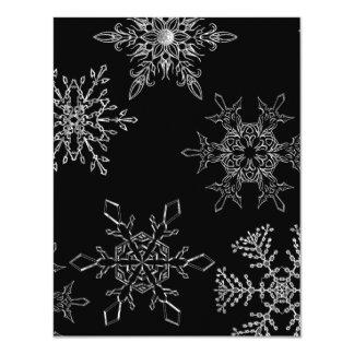 "Silvery Snowflake Winter Holiday Invitation 4.25"" X 5.5"" Invitation Card"