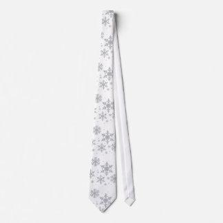 Silvery Snowflakes Winter Wedding Neck Tie