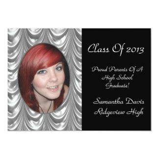Silvery Swag Graduation Add Your Photo 13 Cm X 18 Cm Invitation Card