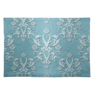Silvery Teal Floral Damask Design Placemat