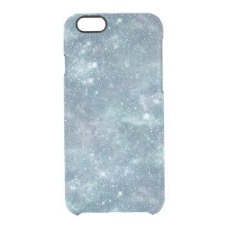 Silvery Teal Star Nebula Clear Transparent Clear iPhone 6/6S Case