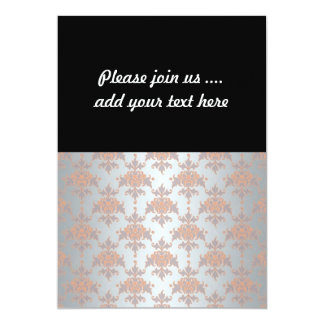 Silvery White Grey and Peachy Orange Damask 13 Cm X 18 Cm Invitation Card