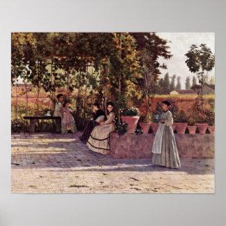 Silvestro Lega - In the vine Print
