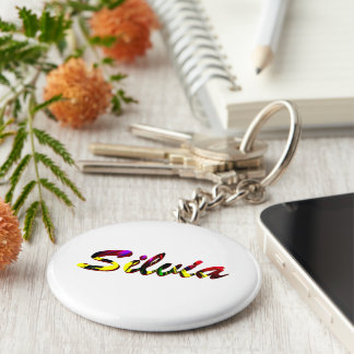 Silvia accessories basic round button key ring