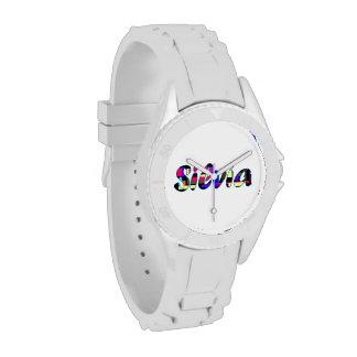 Silvia's white sporty watch