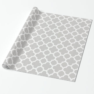 Silvier-Grey and White Quatrefoil Pattern Wrapping Paper