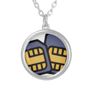 SIM cards Silver Plated Necklace