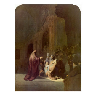 Simeon in the temple by Rembrandt Postcard