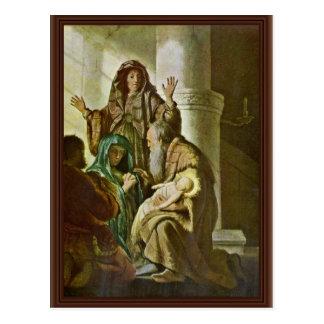 Simeon In The Temple. By Rembrandt Van Rijn Postcard