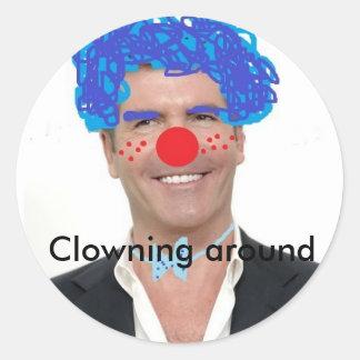 Simon cowell the clown Clowning around Round Sticker