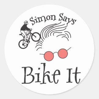 Simon Says bike it Round Sticker