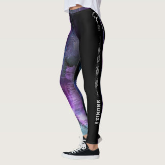 """""""Simone"""" Purple Abstract with strip Leggings"""